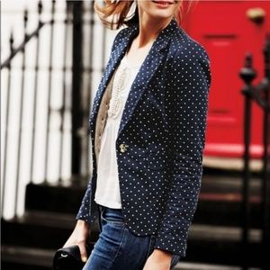 Boden Navy Polka Dot Preppy Lined Blazer